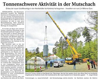 Einbau der neuen Uranfilteranlage in den Hochbehälter bei Karlsholz hat begonnen